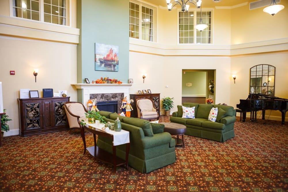 A lobby view at Harmony at Falls Run in Fredericksburg, Virginia