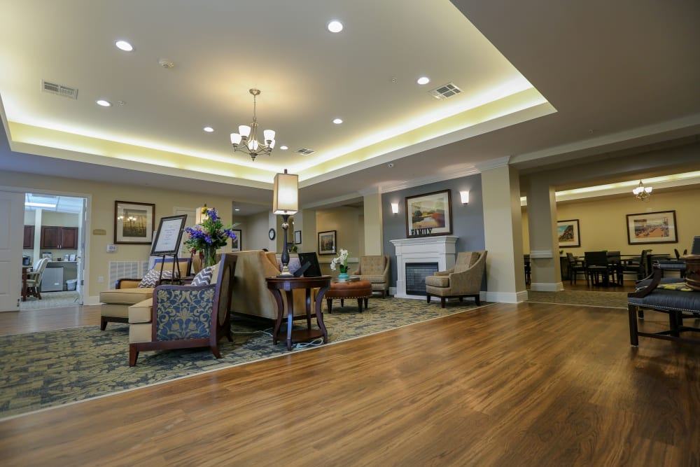 The lobby area at Harmony at Martinsburg in Martinsburg, West Virginia
