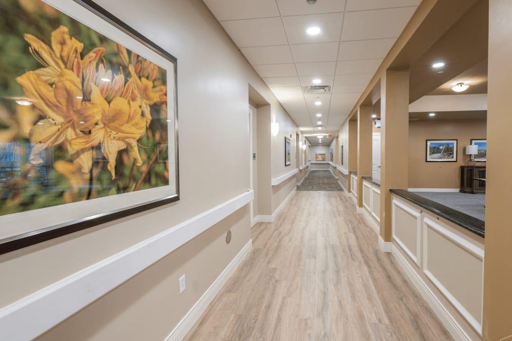A hallway view at Harmony at Morgantown in Morgantown, West Virginia
