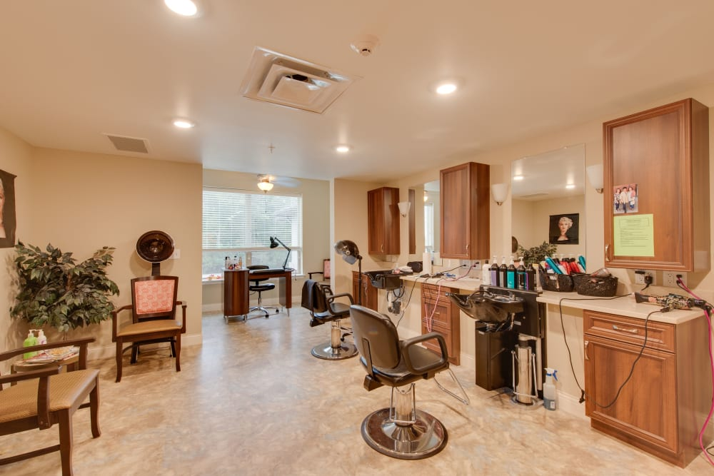The salon at Harmony at Oakbrooke in Chesapeake, Virginia