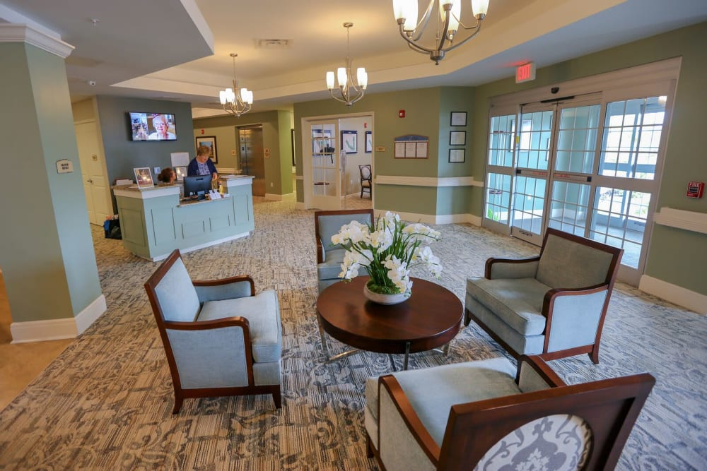 A lobby area at Harmony at Spring Hill in Lorton, Virginia