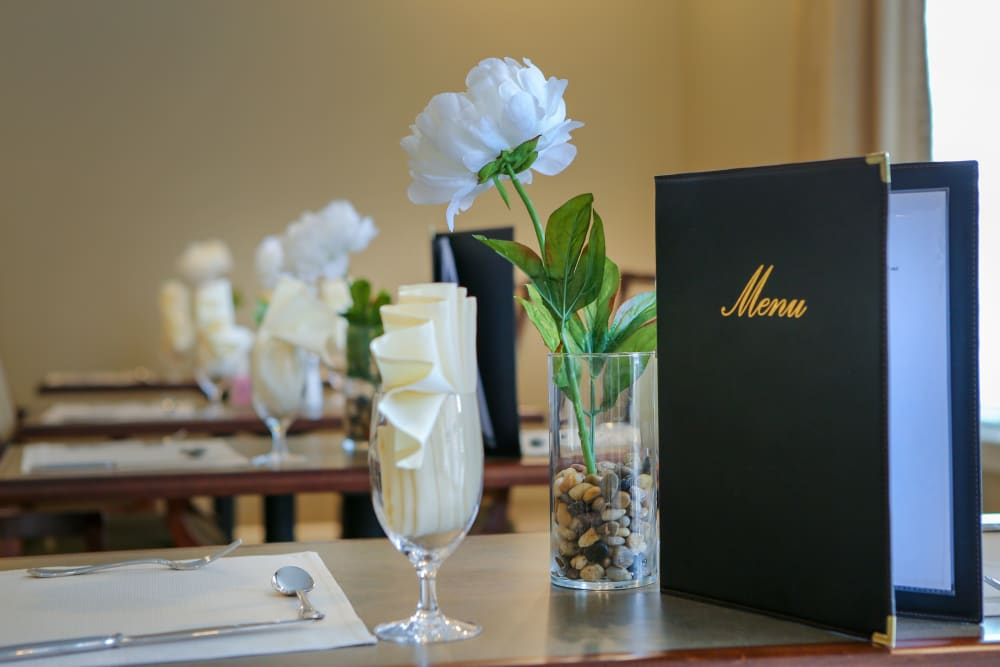 A menu setting for dinner at Harmony at Spring Hill in Lorton, Virginia