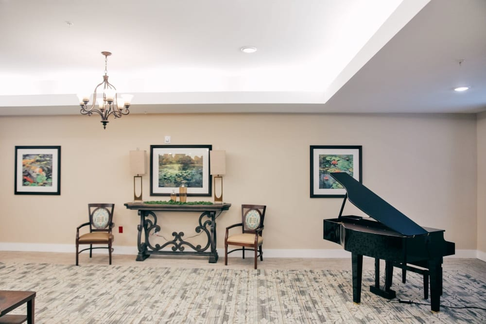 A piano greets visitors at Harmony at West Ashley in Charleston, South Carolina