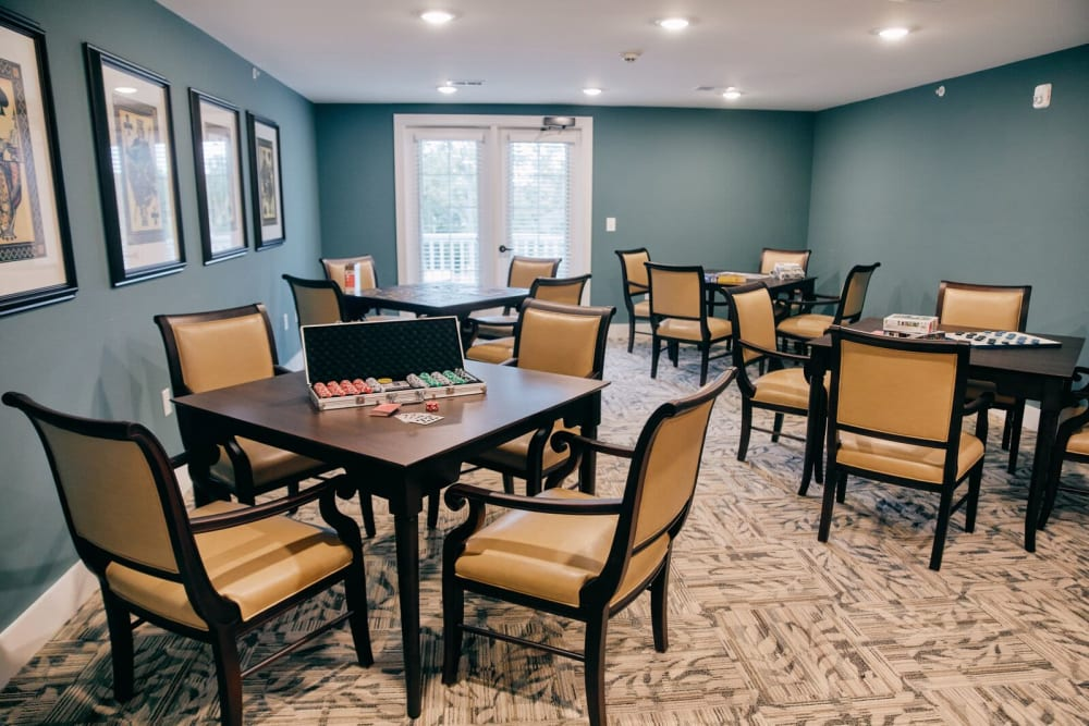 A common area is prepared for poker night at Harmony at West Ashley in Charleston, South Carolina
