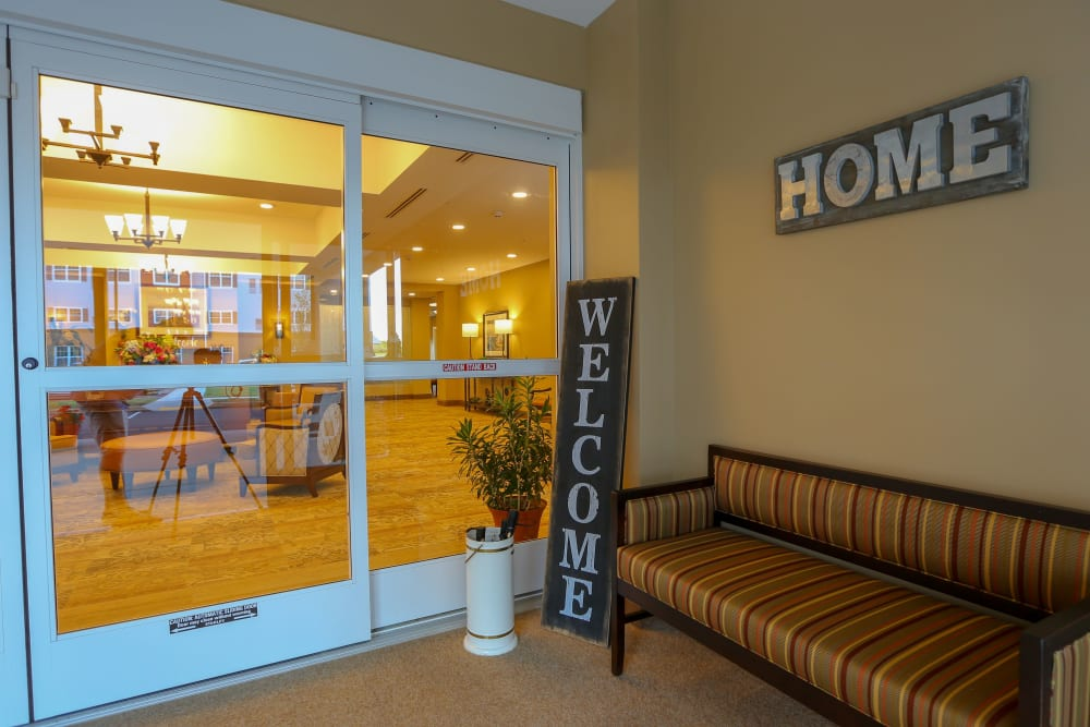A welcome home sign greets residents at Harmony at West Shore in Mechanicsburg, Pennsylvania
