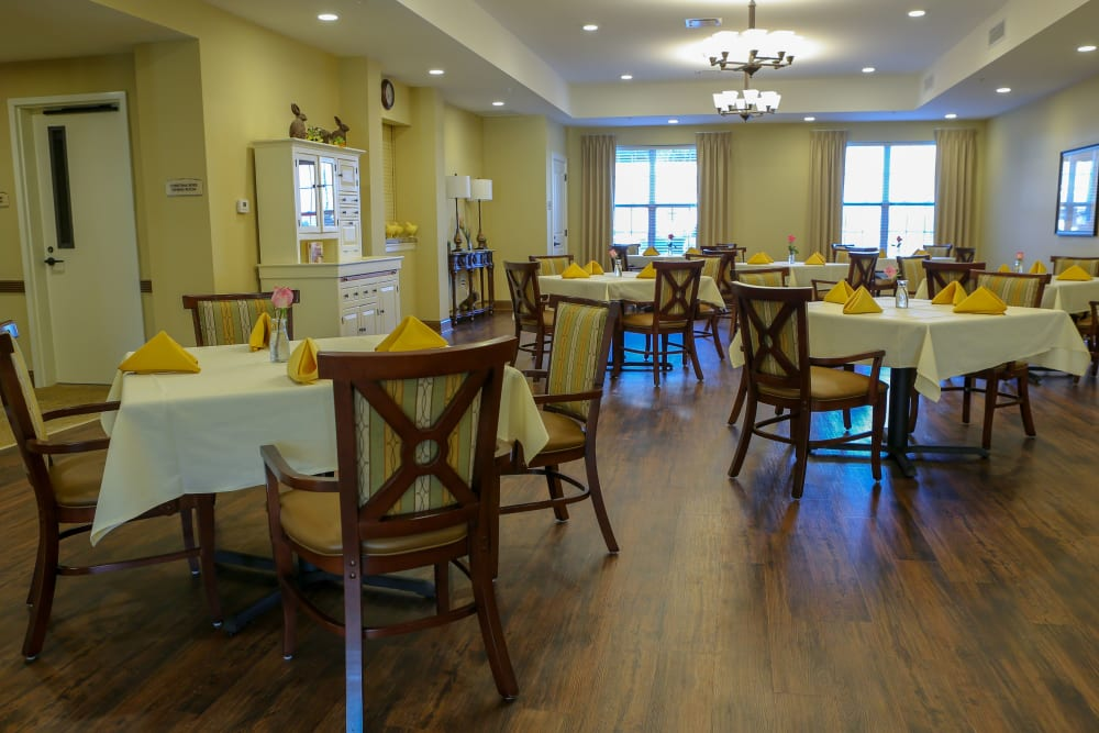The dining area is set at Harmony at West Shore in Mechanicsburg, Pennsylvania