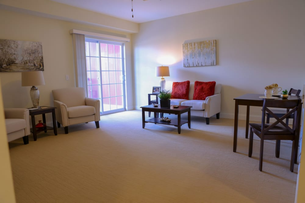 A view of a living room at Harmony at West Shore in Mechanicsburg, Pennsylvania