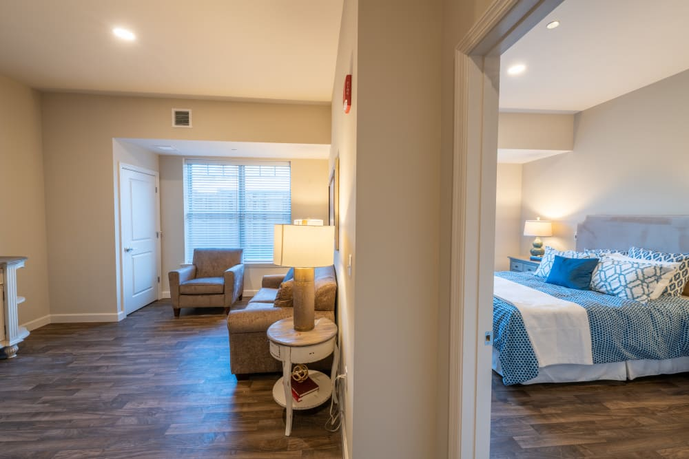 A bedroom at Harmony at White Oaks in Bridgeport, West Virginia