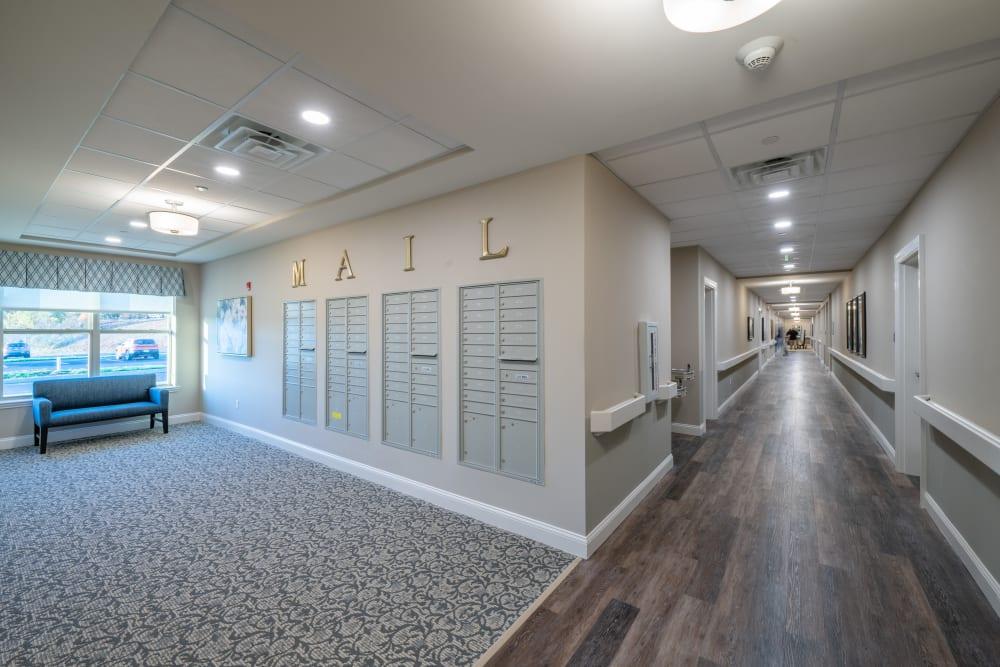 Mailboxes and a hallway at Harmony at White Oaks in Bridgeport, West Virginia