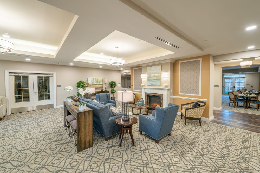 The lobby at Harmony at White Oaks in Bridgeport, West Virginia