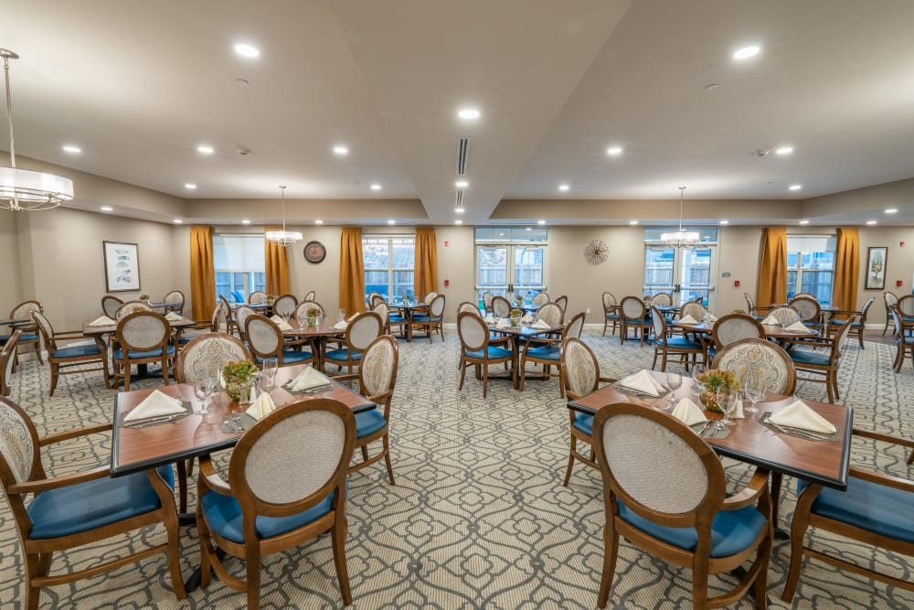 A dining area at Harmony at White Oaks in Bridgeport, West Virginia