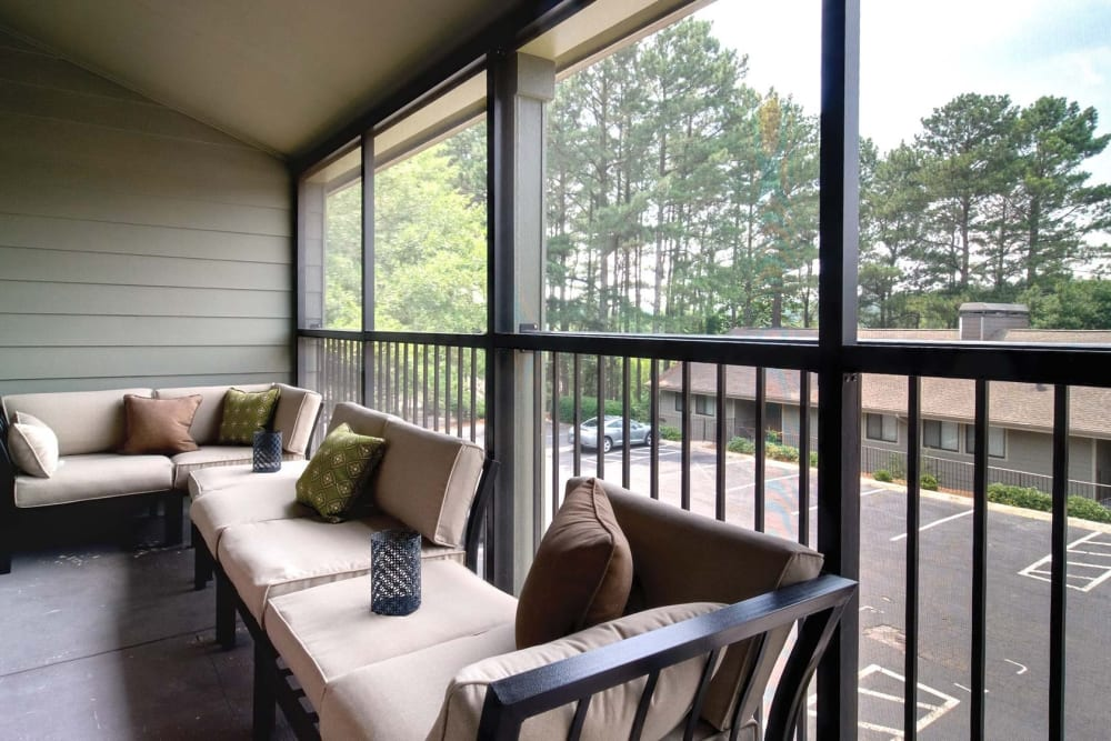 Private Balcony at The Lodge on the Chattahoochee Apartments in Sandy Springs, Georgia