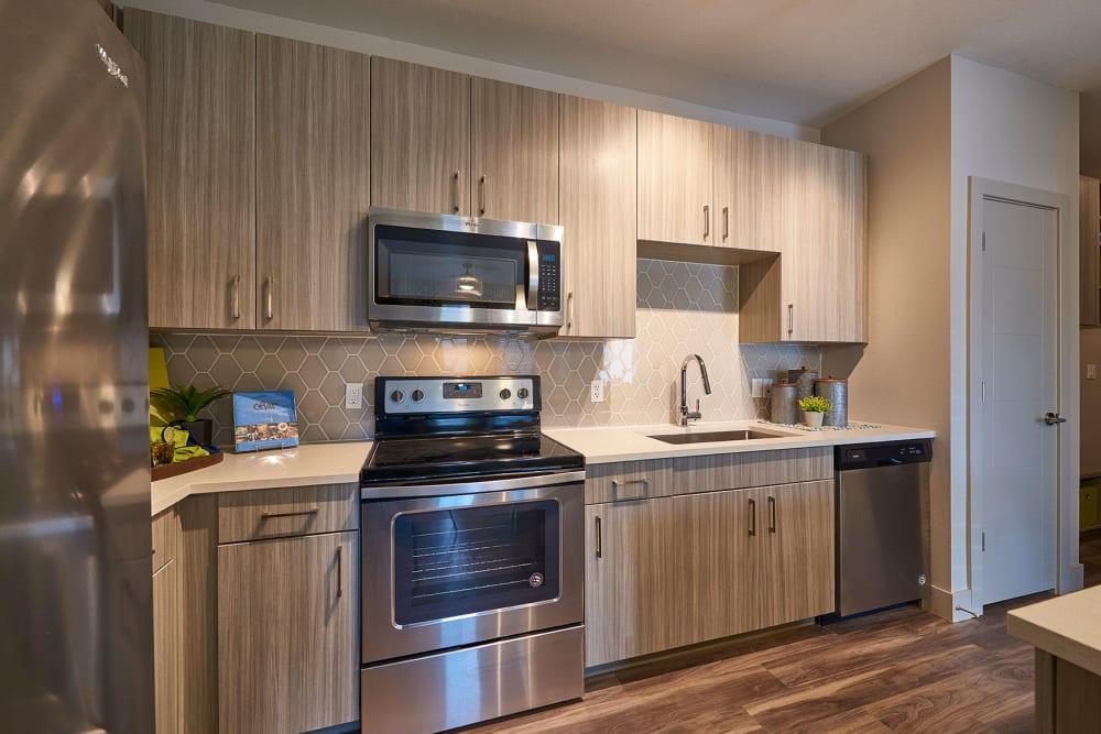 Spacious, sleek kitchen at Encore Evans Station in Denver, Colorado