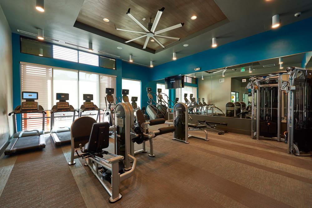 Modern fitness center at Encore Evans Station in Denver, Colorado