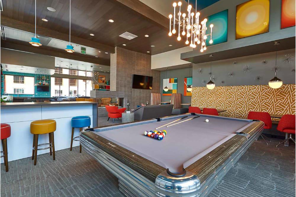 Billiards table in Encore Evans Station's clubhouse in Denver, Colorado