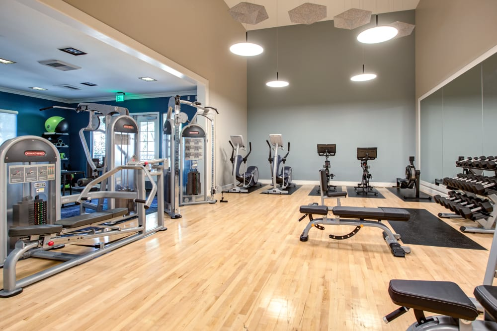 Lots of room to get in shape in the fitness center at Sofi Westview in San Diego, California