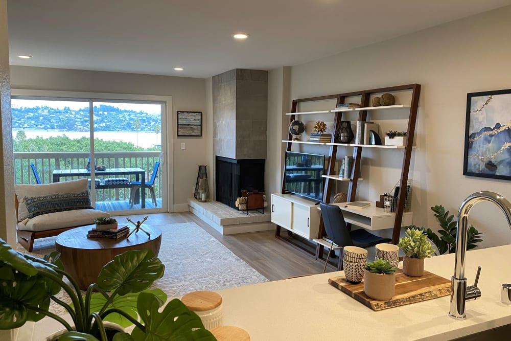 Gorgeous view of the bay from a model home's kitchen at Harbor Point Apartments in Mill Valley, California