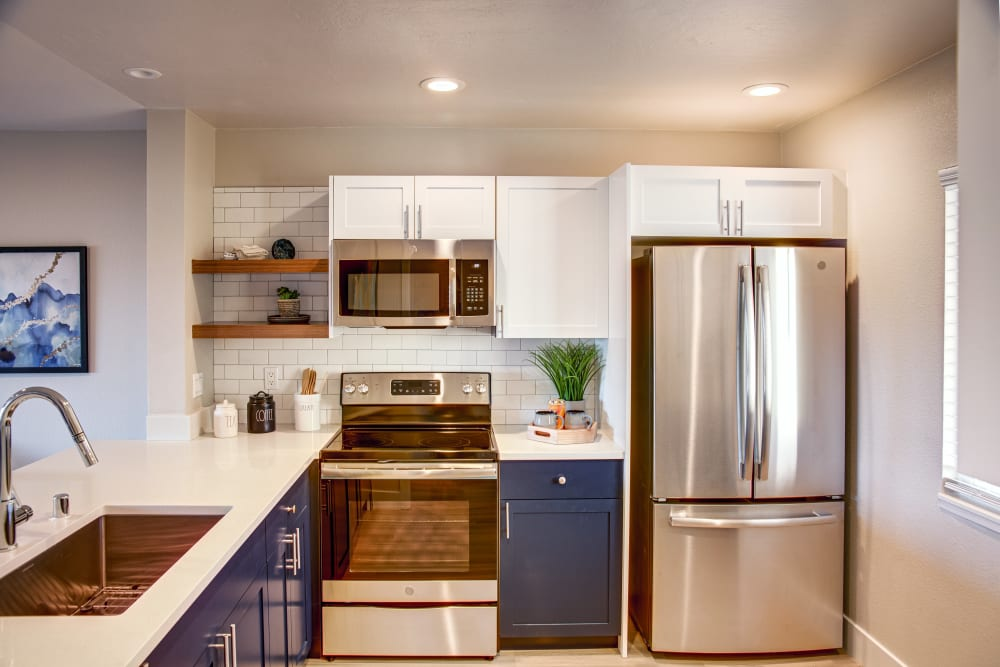 Chef-inspired kitchen in a model home at Harbor Point Apartments in Mill Valley, California