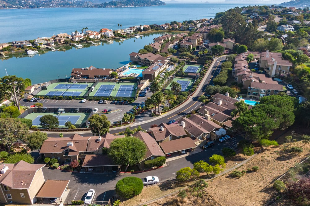 Aerial view of the community at Harbor Point Apartments in Mill Valley, California