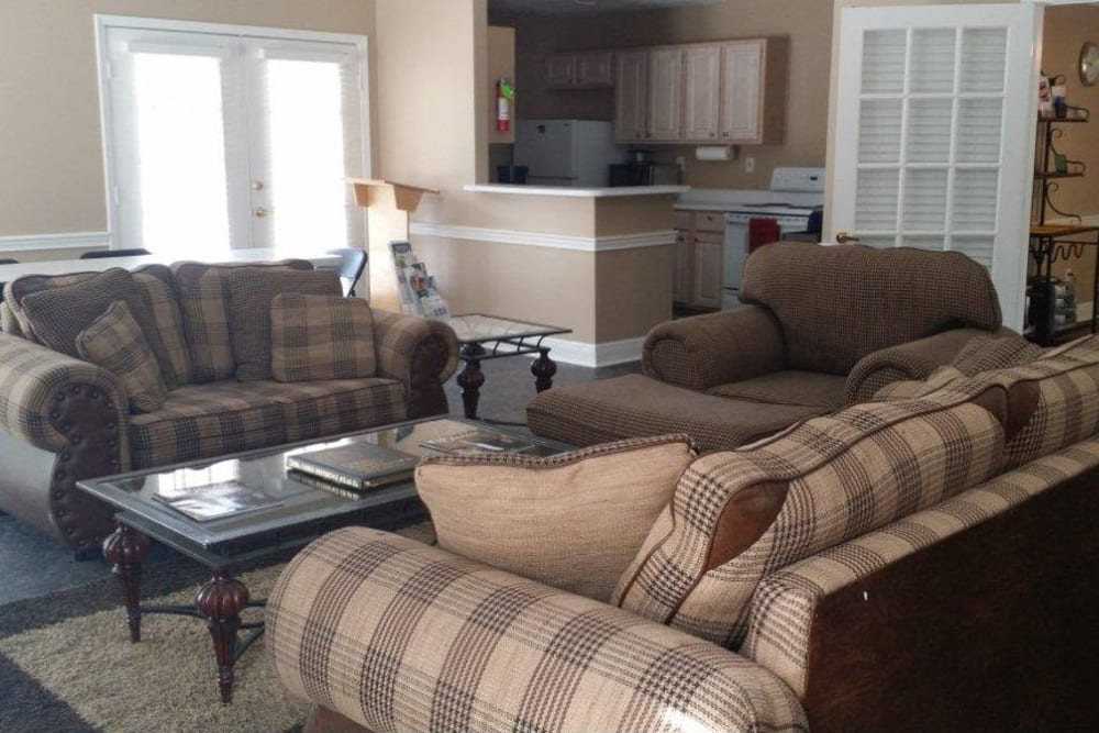 Lounge seating in the clubhouse at Bristol Park Apartments in Jackson, Mississippi