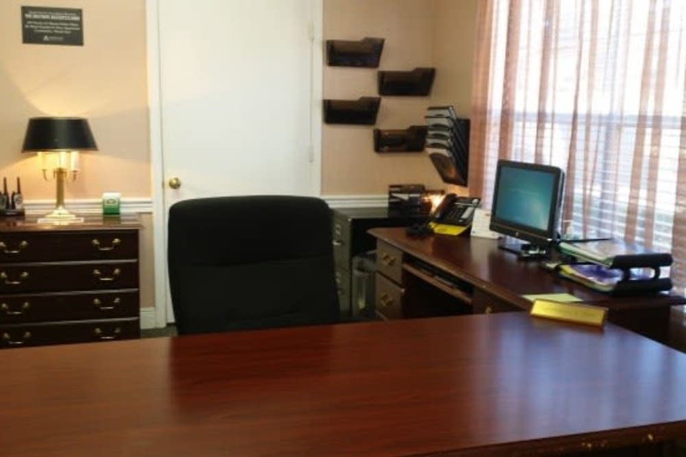 The leasing office at Bristol Park Apartments in Jackson, Mississippi