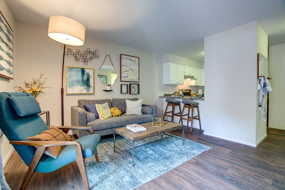 Hardwood floors and modern decor in a newly renovated model home at Terra Martinez in Martinez, California