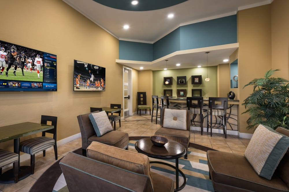 Contemporary decor in resident clubhouse at Azul at Spectrum in Gilbert, Arizona