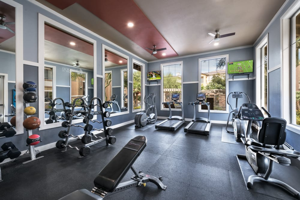Onsite fitness center at Borrego at Spectrum in Gilbert, Arizona