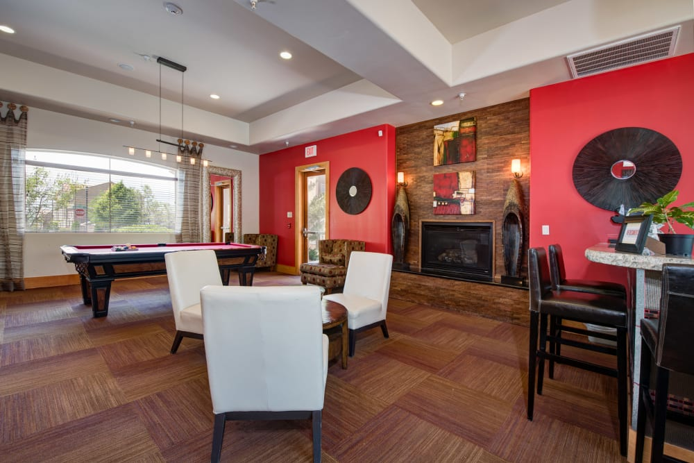 Elegant game room in the resident clubhouse at Broadstone Towne Center in Albuquerque, New Mexico