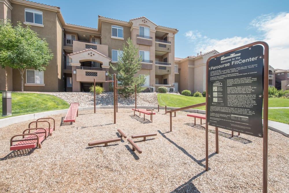 Parkour agility course at Broadstone Towne Center in Albuquerque, New Mexico