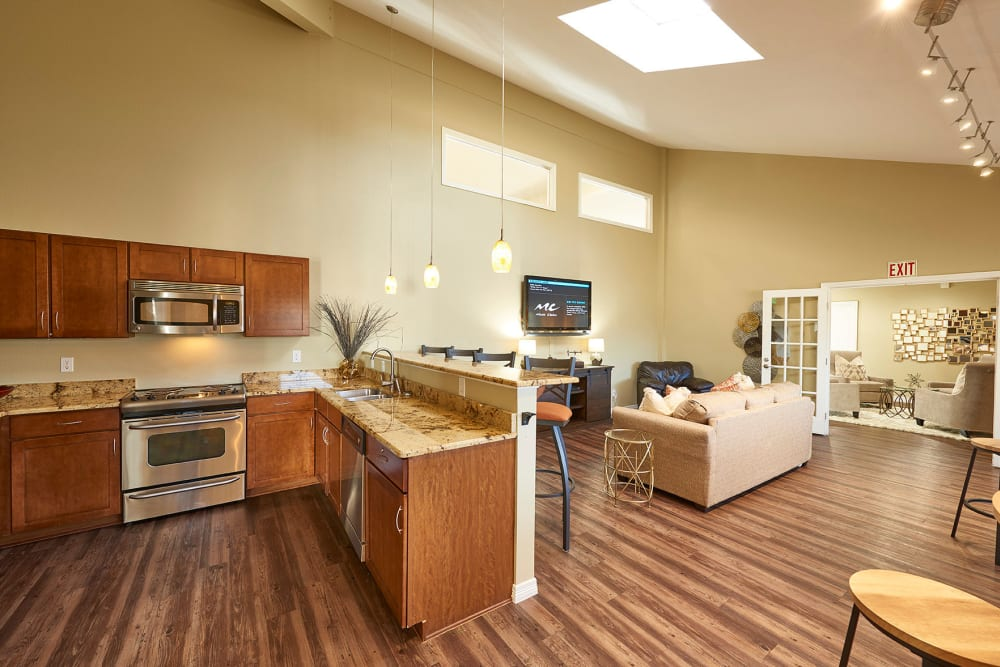 Community kitchen for entertaining guests at Hampden Heights Apartments in Denver, Colorado