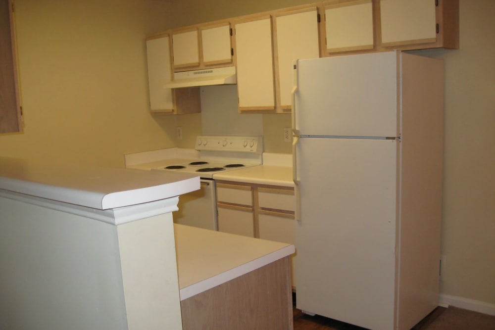 Bright kitchen at Parktowne Apartments in Cleveland, Tennessee