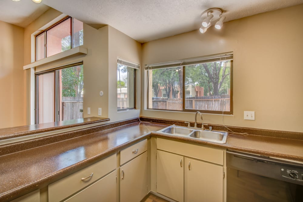 Kitchen with plenty of windows for looking outside at Mesa Del Oso in Albuquerque, New Mexico