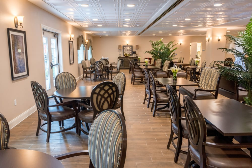 Resident dining room at Inspired Living Ocoee in Ocoee, Florida.