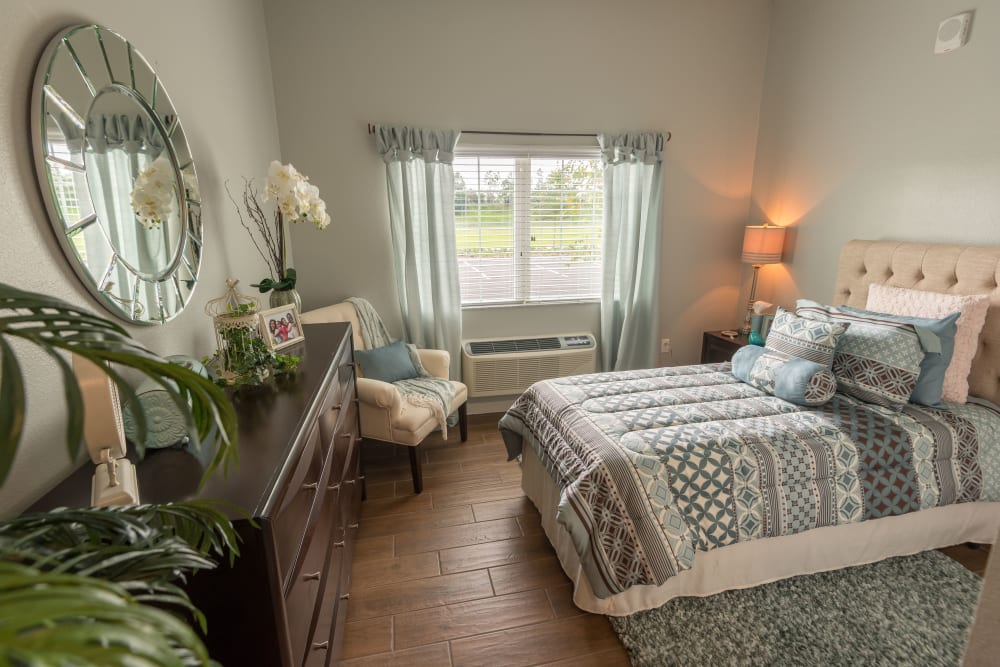 A memory care apartment at Inspired Living Sugar Land in Sugar Land, Texas