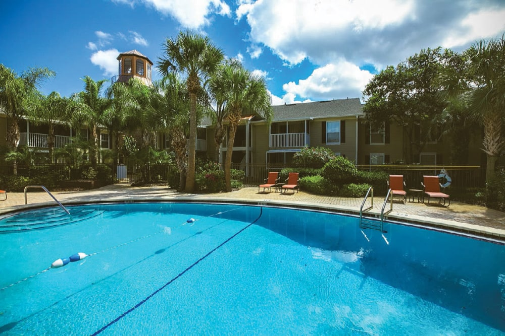 Sparkling swimming pool on another gorgeous day at Signal Pointe Apartment Homes in Winter Park, Florida