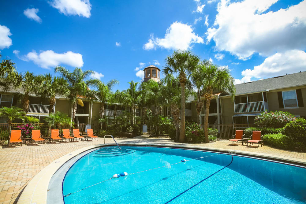 Beautiful resort-style swimming pool at Signal Pointe Apartment Homes in Winter Park, Florida