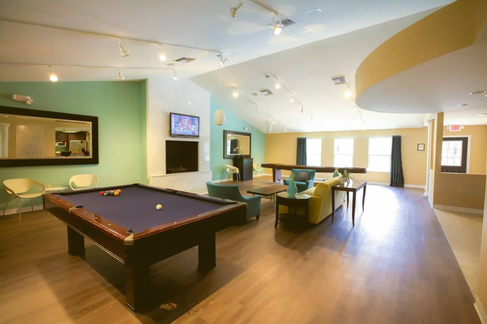 Billiards table in the clubhouse at Signal Pointe Apartment Homes in Winter Park, Florida
