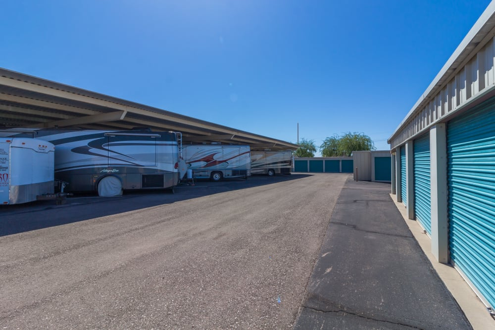 Covered RV Space and Drive up Self Storage Units at Canyon Rose Storage in Gold Canyon, Arizona