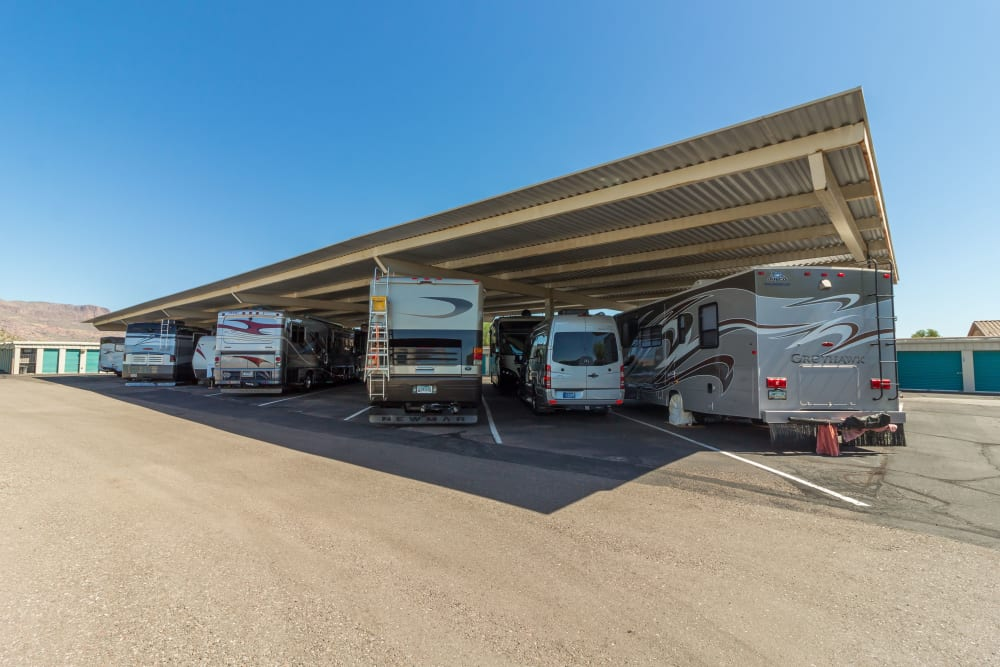 RV storage available at Canyon Rose Storage in Gold Canyon, Arizona.