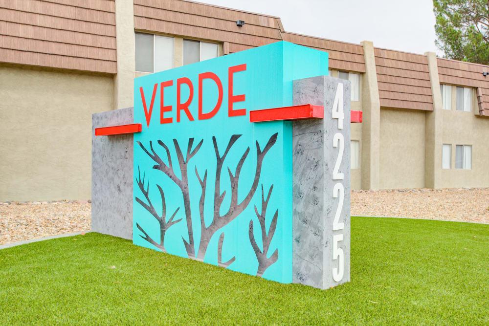 Sign at Verde Apartments in Tucson, Arizona
