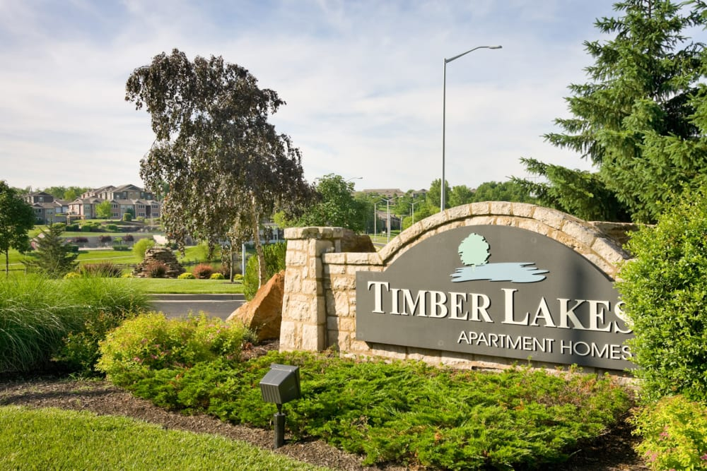 Our sign welcoming residents and their guests to our community at Timber Lakes Apartment Homes in Kansas City, Missouri