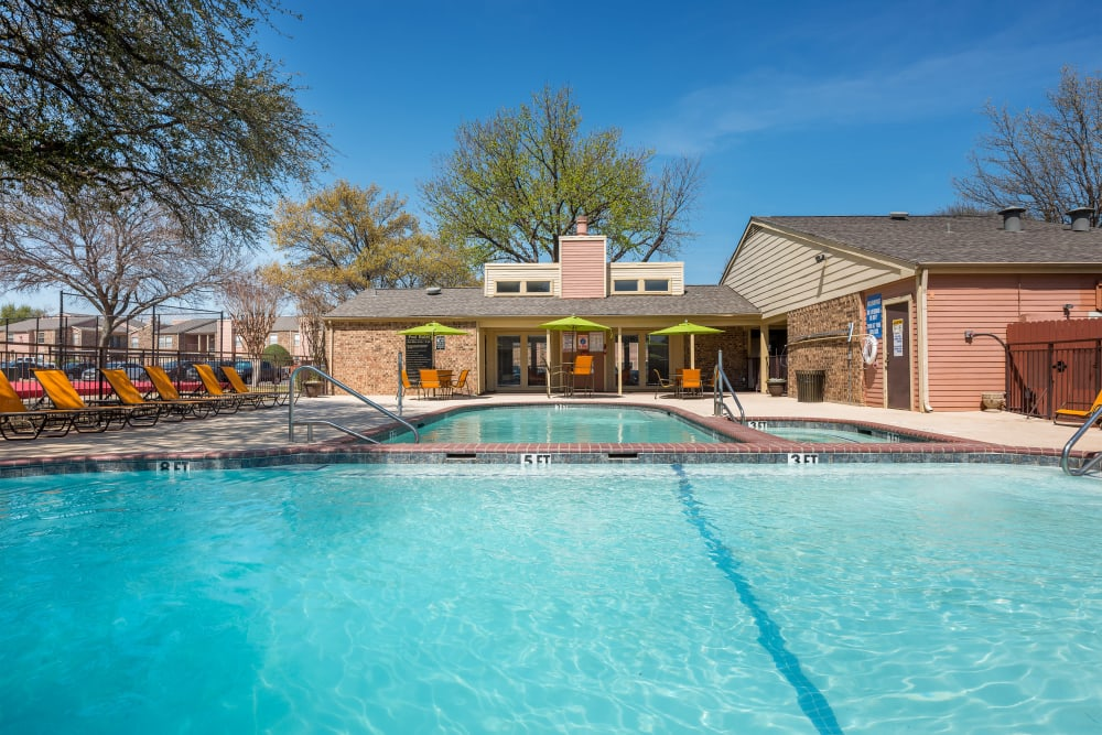 Large swimming pool at The Fairway Apartments in Plano, Texas