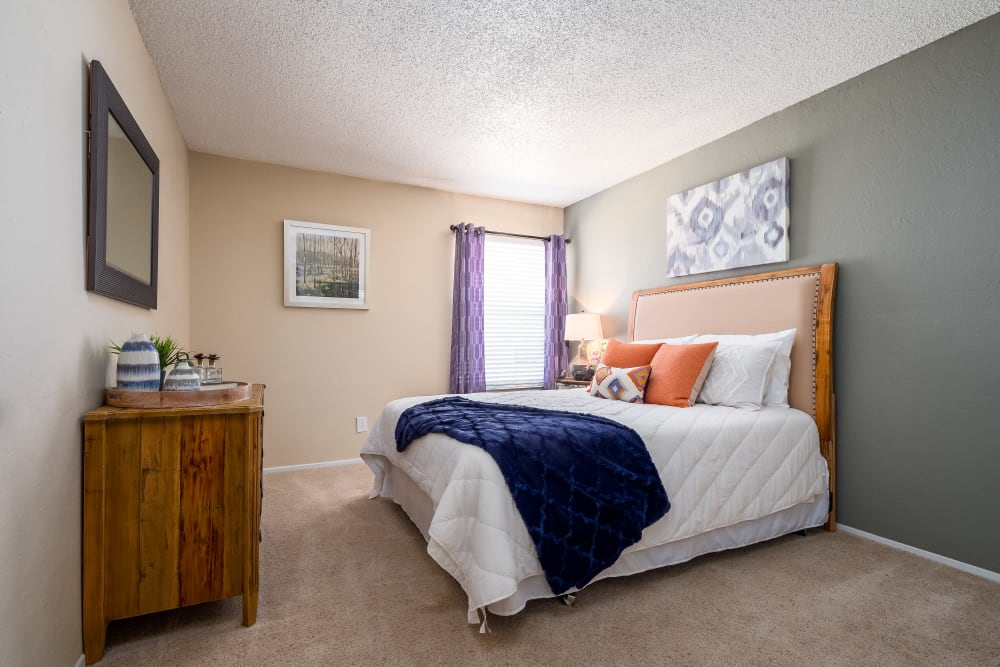 Master bedroom with plush carpeting and an accent wall at The Fairway Apartments in Plano, Texas