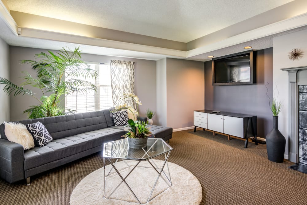 Comfy clubhouse sitting area with a TV at Coach House Apartments in Kansas City, Missouri