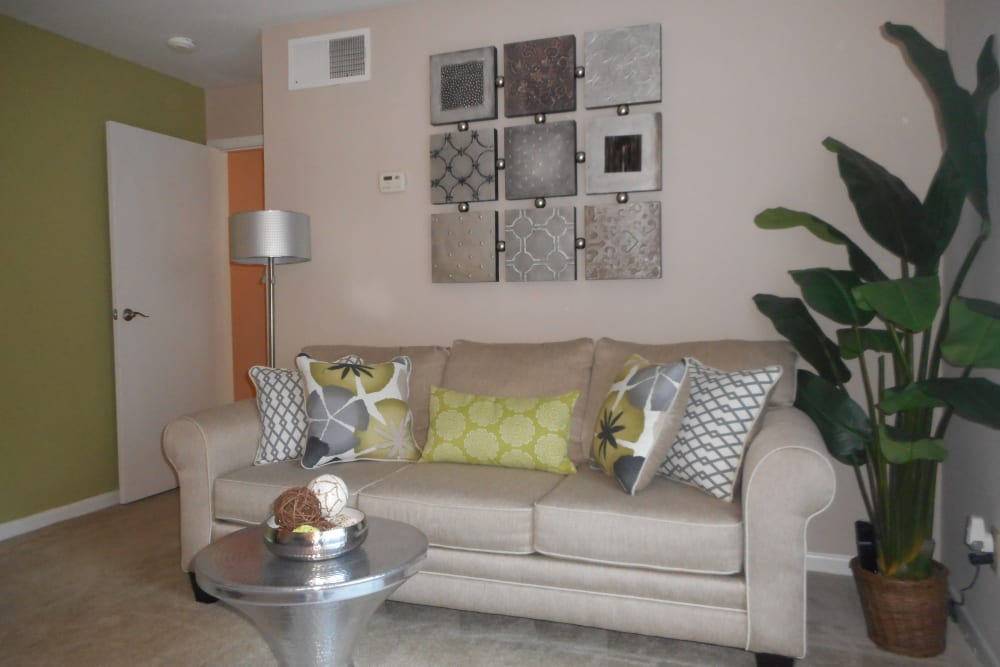 Comfortably decorated living space in a model home at Walden Pond in Houston, Texas