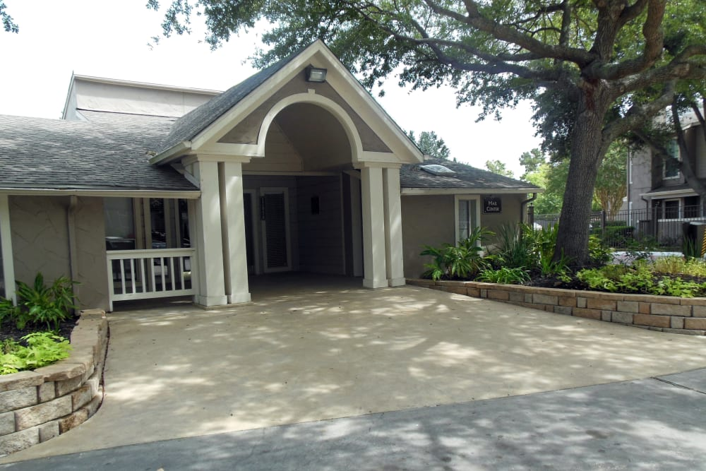 Exterior view of the leasing center at Walden Pond in Houston, Texas