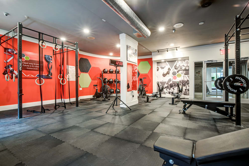 Fully equipped gym at a location managed by Hercules Living.