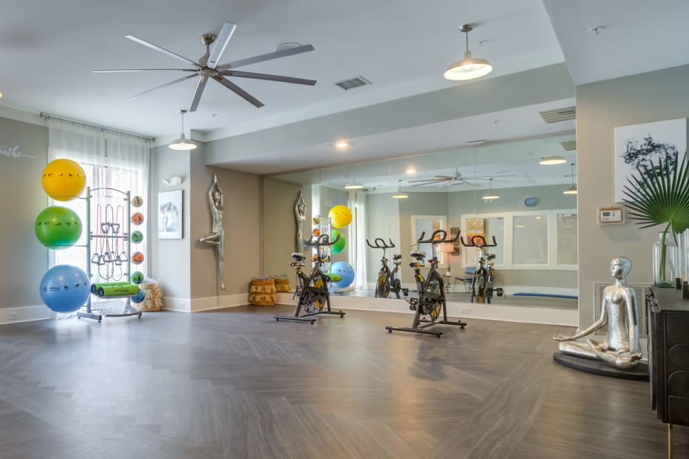Calming yoga studio and fitness center at Celsius Apartments in Charlotte, North Carolina managed by Hercules Living.