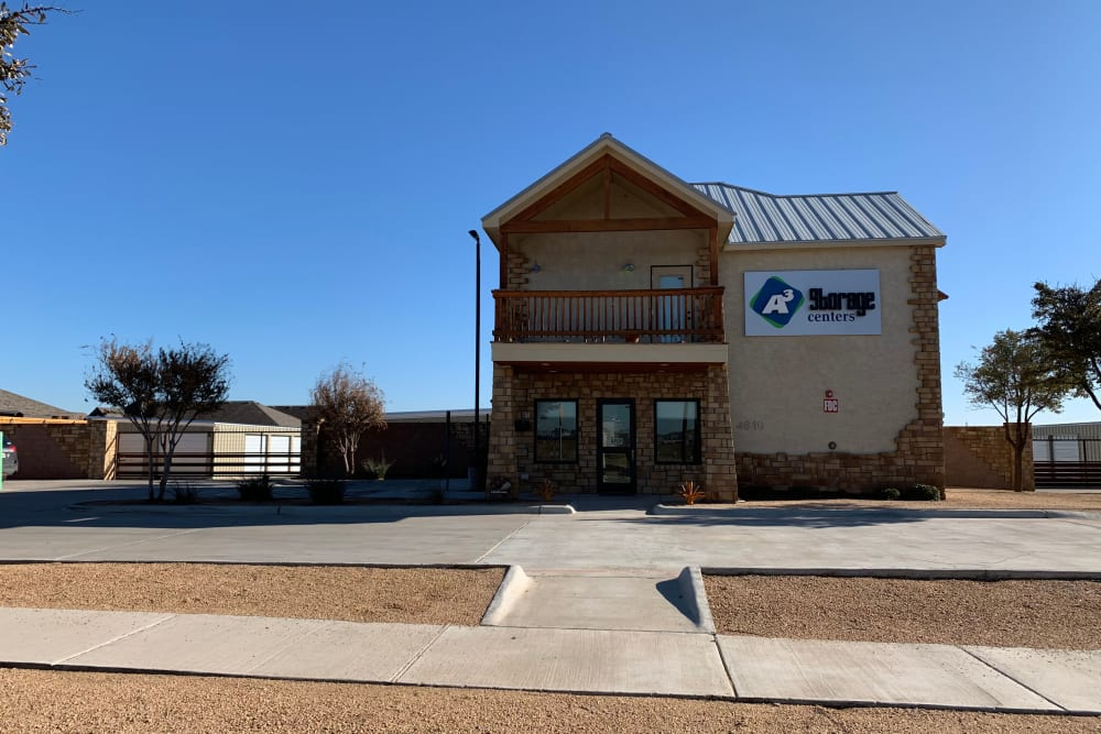 Front sidewalk to A3 Storage Centers in Midland, Texas